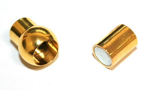 2pcs x inside measurement 5mm gold colour magnetic barrel and ball clasp - S.F - 3009104